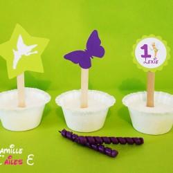 toppers clochette papillon vert violet
