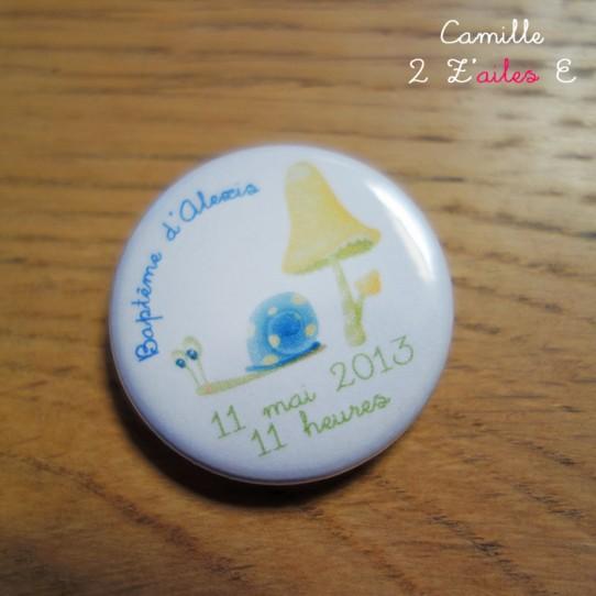 badge magnet 32 escargot bleu