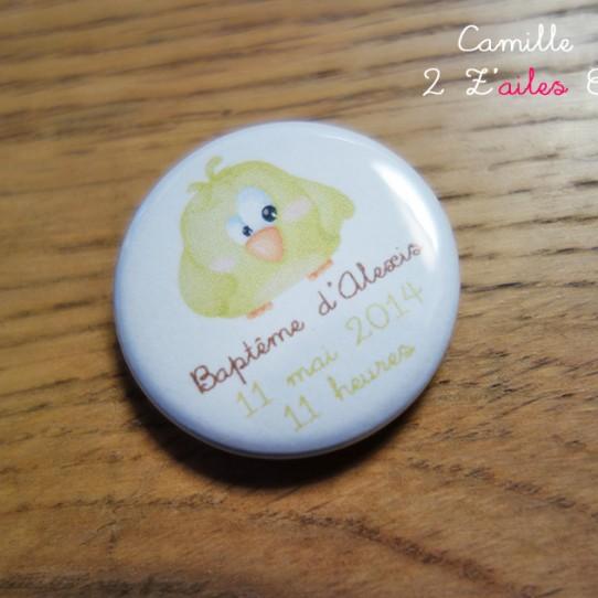 badge magnet 32 oiseau rigolo jaune