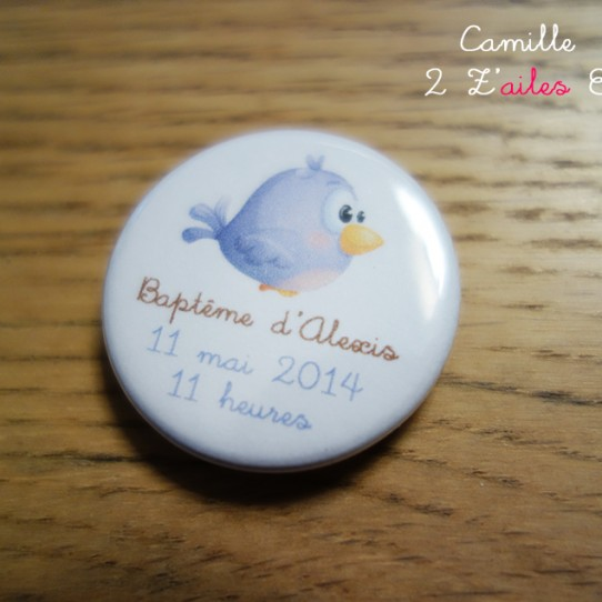 badge magnet 32 oiseau rigolo violet