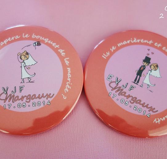 badge magnet miroir 75 evjf dessin bouquet mariée mariés