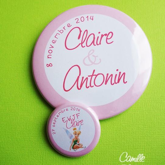badge magnet miroir 75 prénoms mariés rose fuchsia