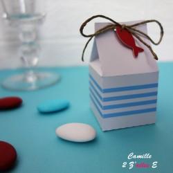 boite dragées lait rayure blanc bleu poisson lin rouge
