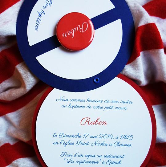 faire-part bonnet marin badge magnet bleu nuit blanc rouge 2