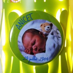 faire-part magnet 75 photo bébé décentré vert anis bleu 2