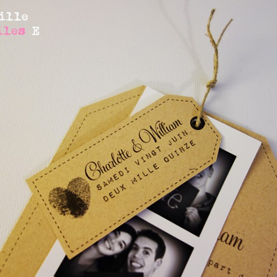 faire-part mariage photomaton vintage kraft 2