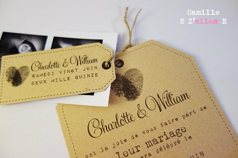 Meilleur de tous Camille 2 z'ailes E | Faire-part Photomaton Vintage – Empreinte Coeur CH69