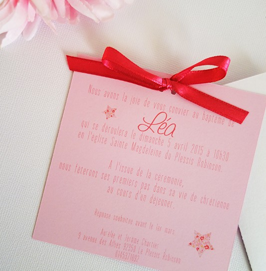 faire-part pochette carré étoile blanc rose fuchsia liberty 2
