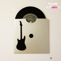 faire-part pochette rock guitare électrique vinyle argent noir 2