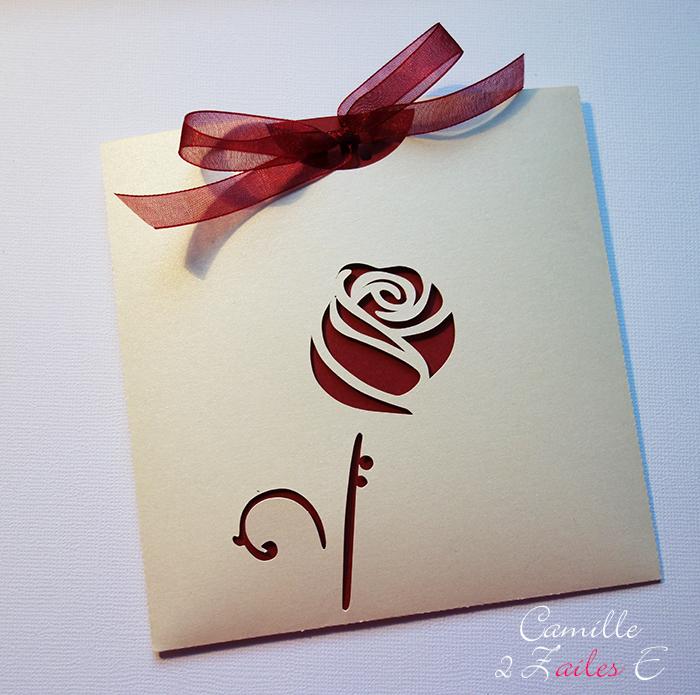 Camille 2 Zailes E Faire Part Pochette Carrée La Rose