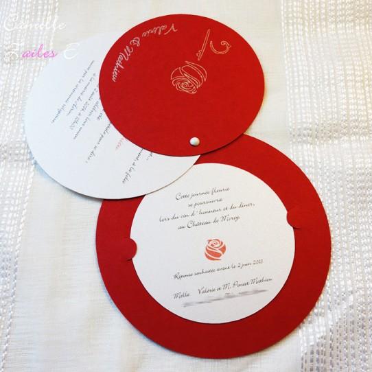faire-part rond rose rouge blanc irisé 4