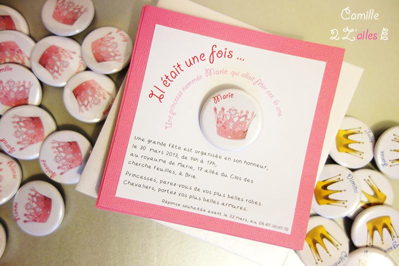 Camille 2 Z Ailes E Invitation Carree Princesse Badge Magnet