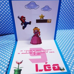 invitation mario princesse peach pop up