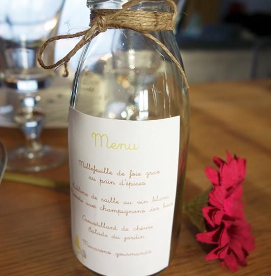 menu bouteille verre lin animaux 2