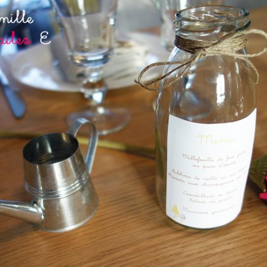 menu bouteille verre lin animaux