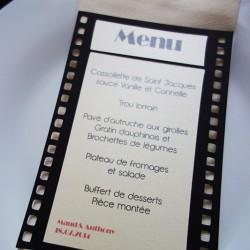 menu cinéma pellicule noir ivoire irisé 1