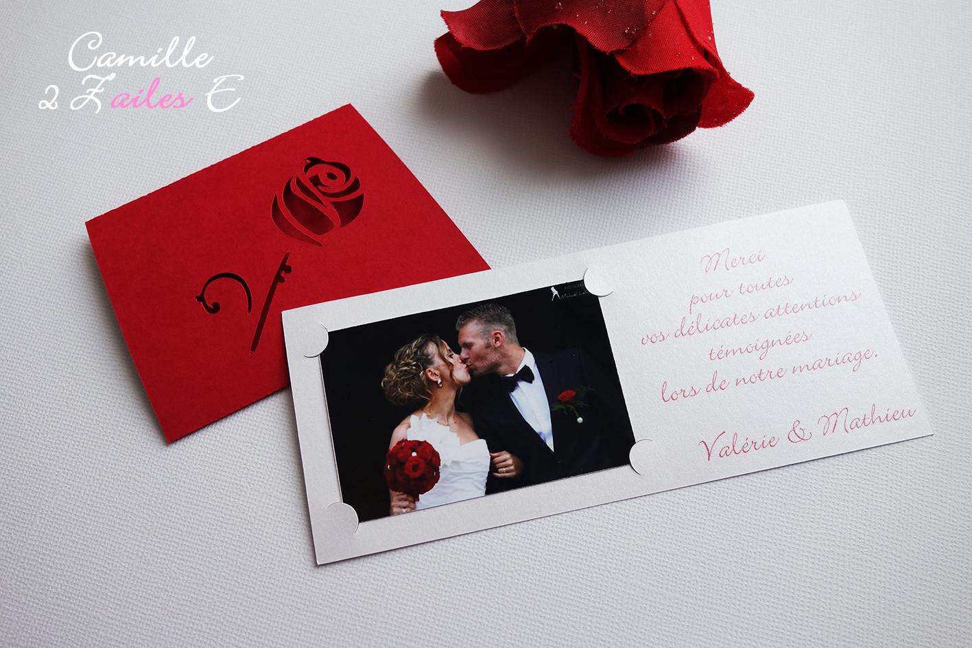 Rose rouge /& ruban blanc mariage Personnalisé Cartes Remerciement