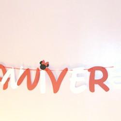 guirlande joyeux anniversaire rouge blanc minnie