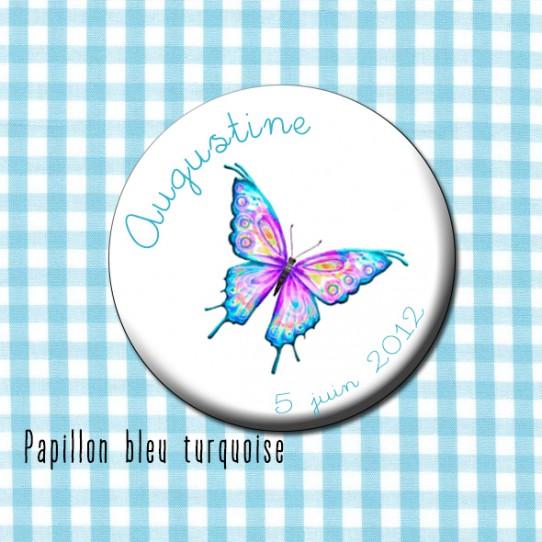 badge 32 papillon bleu turquoise