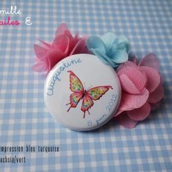 badge magnet 32 papillon fuchsia-vert bleu