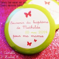 badge magnet miroir 75 papillon vert anis fuchsia