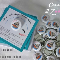 faire-part carré badge magnet pirate bermude