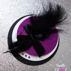 faire-part rond cabaret plume violet pailletté noir 1