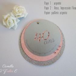 invitation rond age argent rose paillette fleuri 1