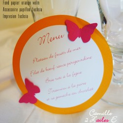 menu rond papillon orange fuchsia