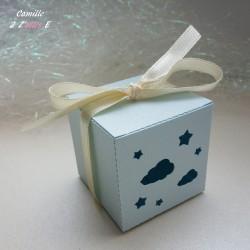 boite dragées nuage étoilé bleu pastel ivoire