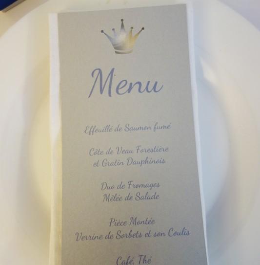 menu couronne prince argent bleu