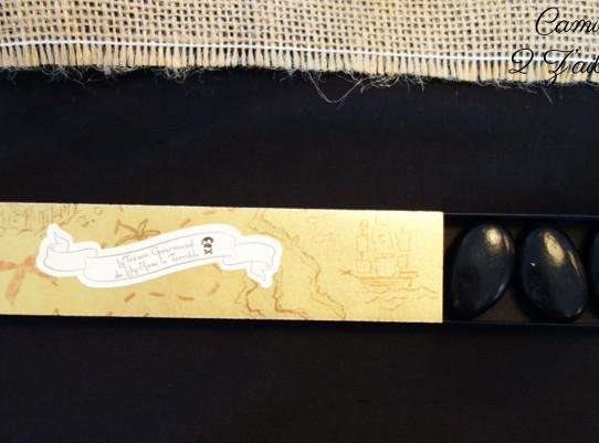 contenant dragee long tiroir carte tresor gourmand noir or 2