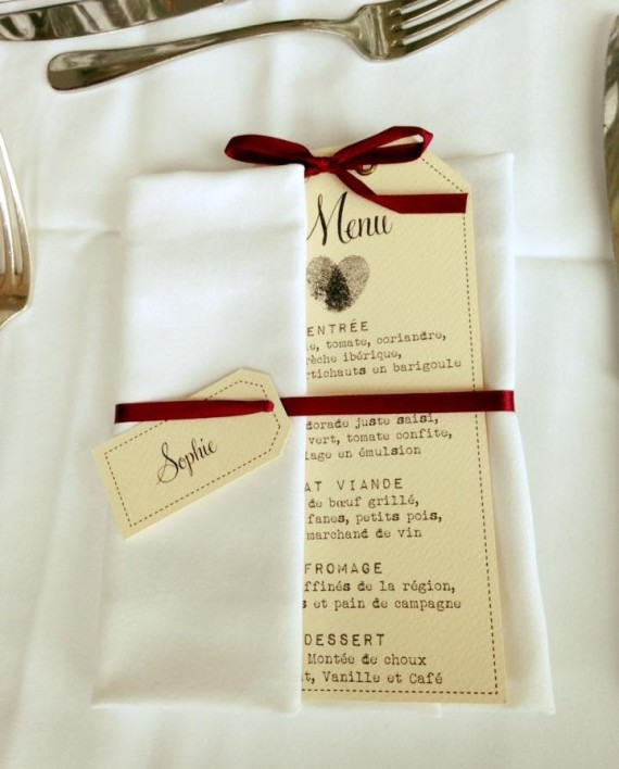 marque-place menu vintage ivoire bordeau