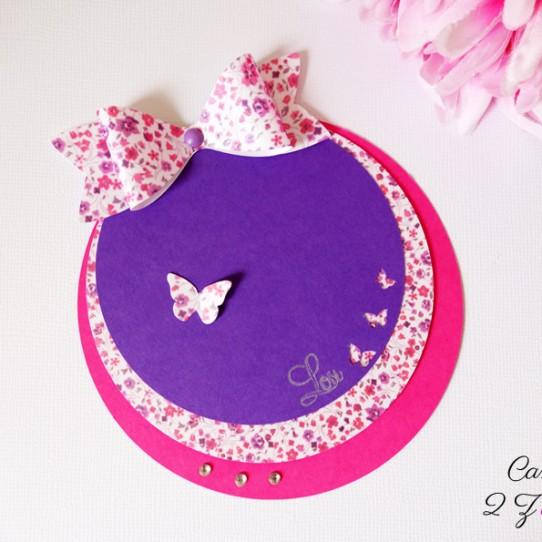 faire-part rond liberty noeud papillon violet fuchsia 1