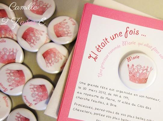badge magnet couronne princesse rose
