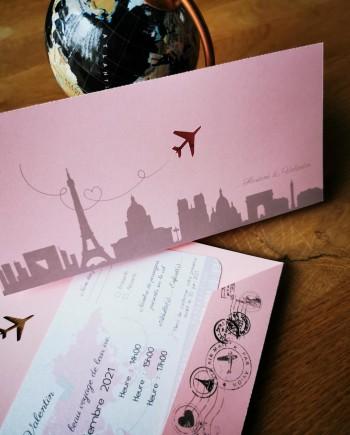 faire-part pochette billet avion rose 1