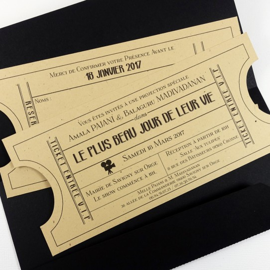 faire-part pochette ticket cinema vintage noir kraft 3