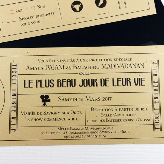 faire-part pochette ticket cinema vintage noir kraft 4