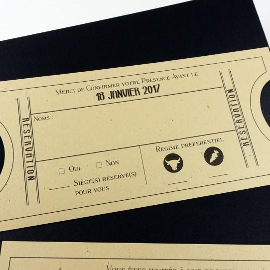 faire-part pochette ticket cinema vintage noir kraft 5