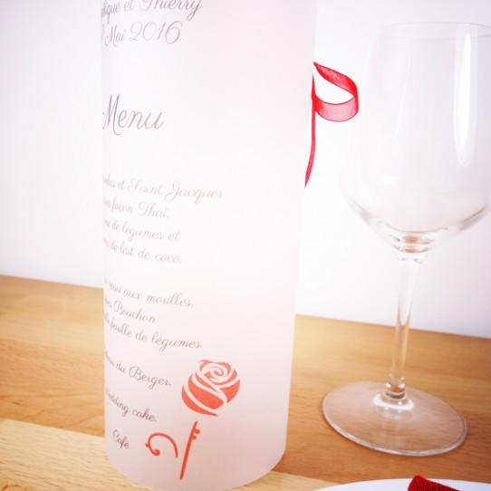menu photophore calque blanc rose rouge