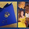 faire-part mariage belle et bete bleu nuit or