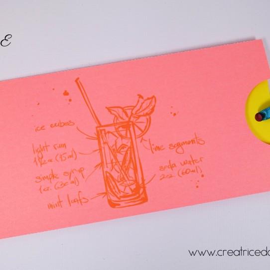 faire-part pochette longue cocktail plage litchi fluo jaune bleu turquoise 1