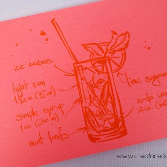 faire-part pochette longue cocktail plage litchi fluo jaune bleu turquoise 2