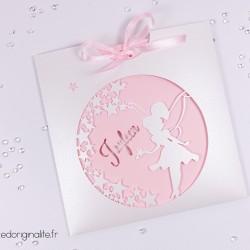 faire-part pochette fée étoile rose blanc irisé 1