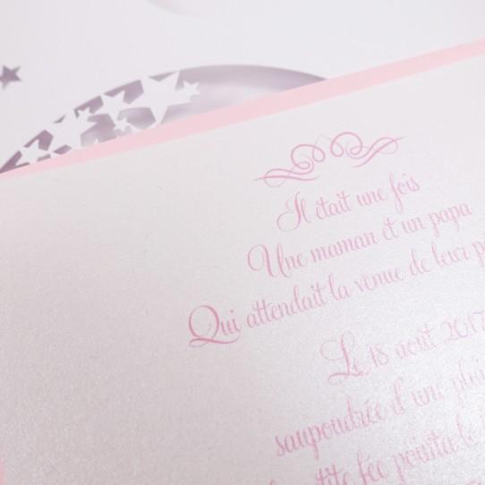 faire-part pochette fée étoile rose blanc irisé 3