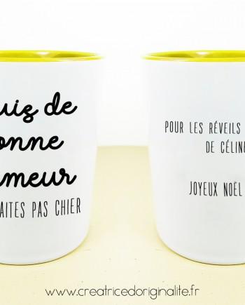 tasse mug jaune bonne humeur