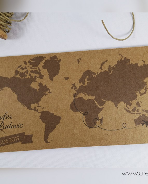 faire-part billet avion pochette mappemonde kraft bis