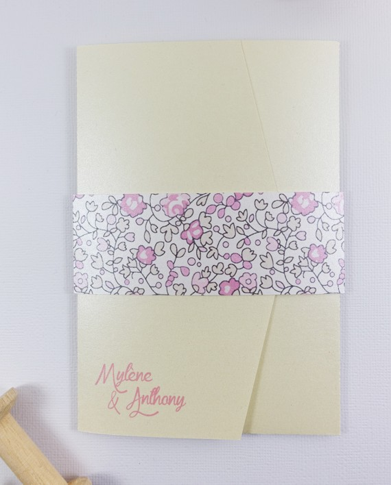 faire-part mariage pocket fold noeud liberty ivoire rose irise 1