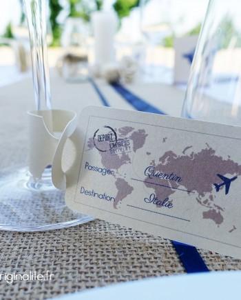 marque-place etiquette bagage verre ivoire bleu marine taupe