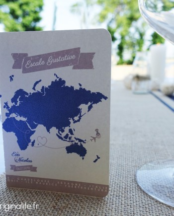 menu passeport mappemonde avion ivoire irisé bleu marine taupe
